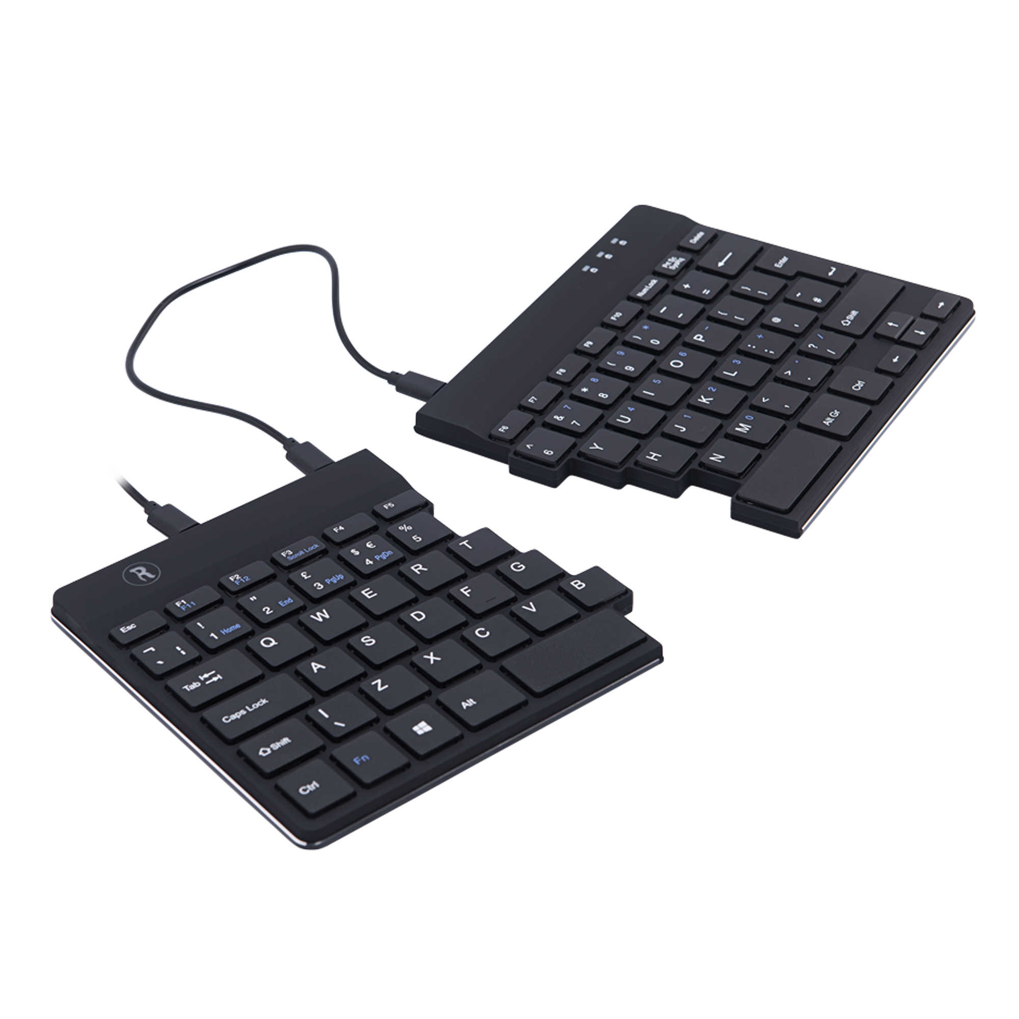 R-Go Split Break Ergonomische Tastatur, QWERTY (UK), schwarz, kabelgebunden